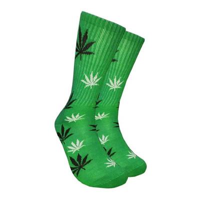 Green Crew Socks - Black & White Leaf