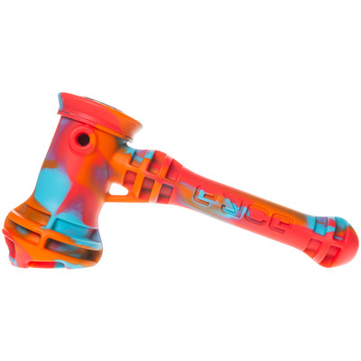 Profile view of a Fuego style Eyce Silicone Hammer Bubbler.