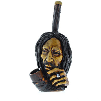 Bob Marley Thinking hand pipe viewed from the front. Details are hand-sculpted on this clay pipe which is crafted on top of a metal pipe center with a wooden bowl.