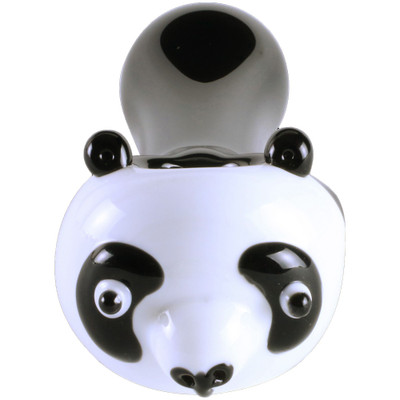 Chameleon Glass Panda Pipe showing the sculpted head and length of the pipe.