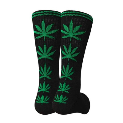 Black Crew Socks - Green Leaf