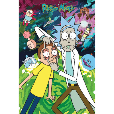Rick and Morty Look Poster filled with series characters on a space background.