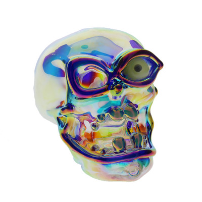 Chromatic Skull with UV Reactive Eye handpipe