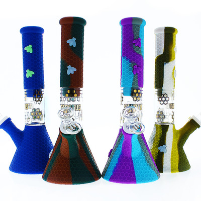 Stratus Silicone Bong with Honeycomb Pattern in various colors.