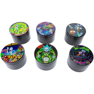 One of each of an assortment of graphics available on these grinders. Clockwise from top left: Portal, Lounging in Space, Eyes Open, Asleep at the Wheel, IT, and Running from Aliens.