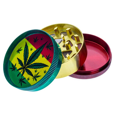Buy Small Metal Grinder with Assorted Leaf Graphics