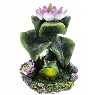 Backflow incense burner with pink lilly pad and fog with leaves that will cascade smoke down around the frog.