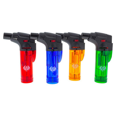 Bernie Plastic Mini Butane Torch is available in the pictured colors: Red, Blue, Yellow, and Green.