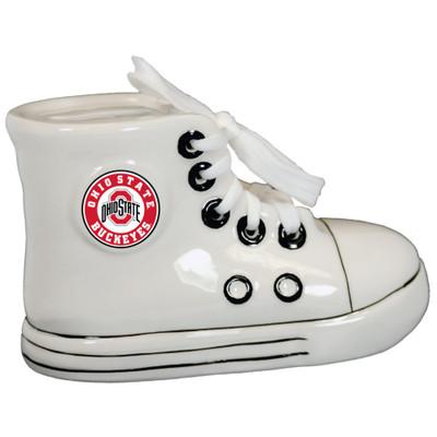 White Ohio State Buckeyes bank shoe.