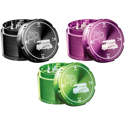 Each available color of Cheech & Chong Grinder with their lids removed.