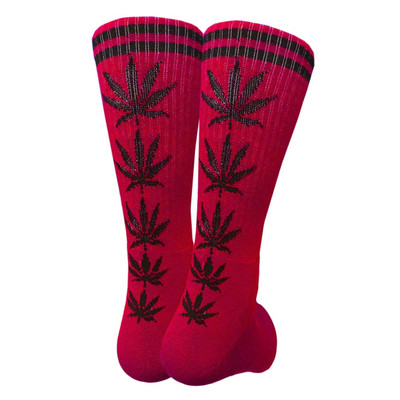 Red Crew Socks - Black Leaf