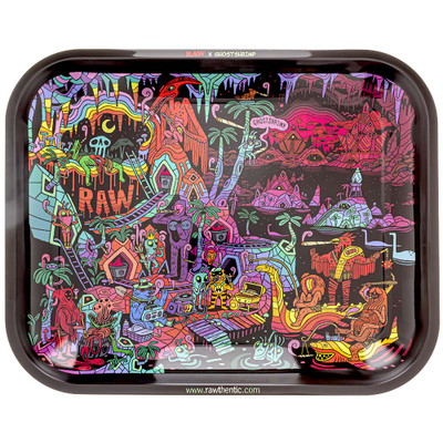 Top view of the colorful graphic on the top of this Raw X Ghost Shrimp rolling tray.