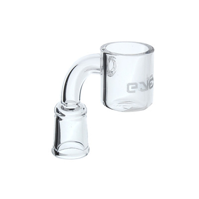 Eyce female 90 degree quartz flat top banger with Eyce logo etched in the bucket of the banger