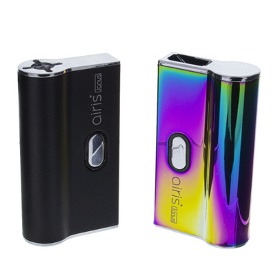 Airis vapes Janus juul pod and 510 thread cartridge pocket vaporizer in black and rainbow