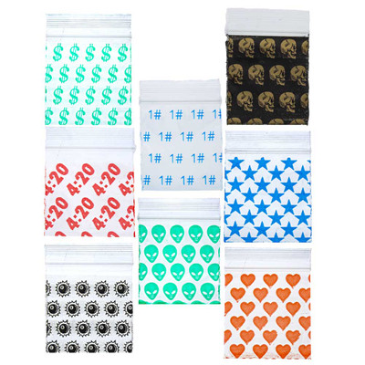 Apple Brand Bags with Graphics come in a selection of graphics on their fronts. 1515 bags are available with Dollar Sign, 4:20, 8-Ball, 1#, Alien, Skulls, Stars, and Hearts graphics.