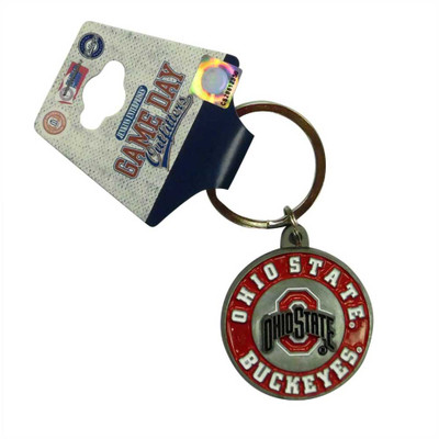 Ohio State Buckeyes Metal Bullseye Keychain