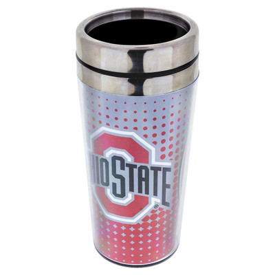 The perfect travel mug for Ohio State alumni! This is a traditionally-shaped tumbler with a clip-closed mouthpiece.