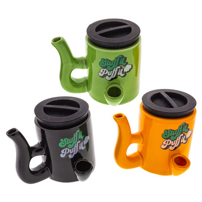 Stuff It Puff It Stash Pipes available in Black, Green, and Orange.