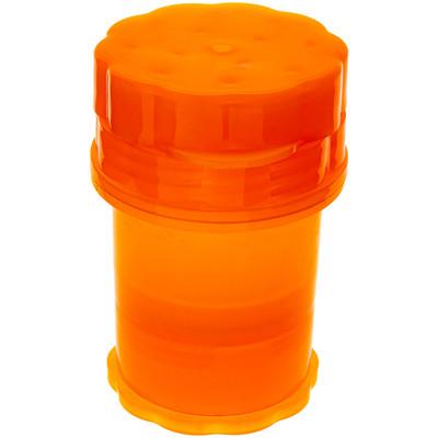 Orange Plastic Grinder with Storage fully assembled.
