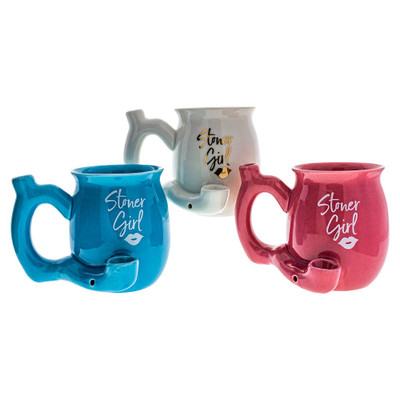 Stoner Girl Ceramic Pipe Mug Assorted Colors