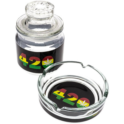 Glass Ashtray & Stash Jar Set with Rasta-colored 420 decals.