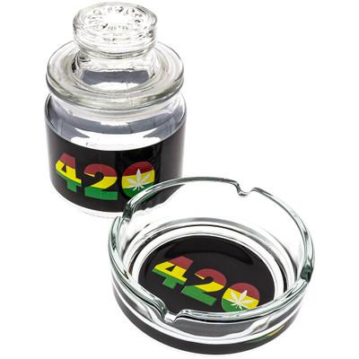 Glass Ashtray & Stash Jar Set with Rasta-colored 420 decals.