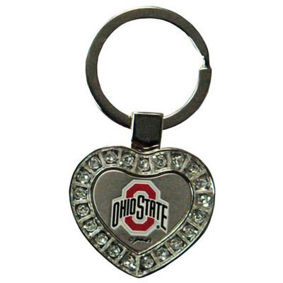 Ohio State Rhinestone Heart Keychain