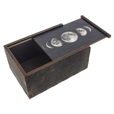 Moon Phases wooden stash box with top tray slightly ajar.