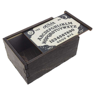Ouija Board wooden stash box with top tray slightly ajar.