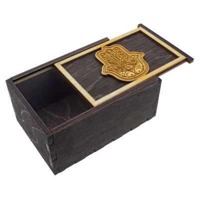 Hamsa Hand wooden stash box with top tray slightly ajar.