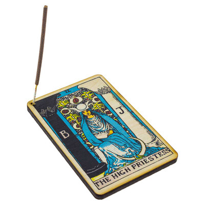 The High Priestess Tarot Card incense burner with a Shortie incense stick.