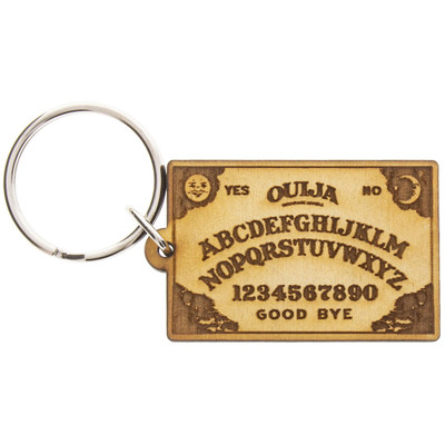 Most Amazing's Ouija Bard Wooden Keychain viewed from above.