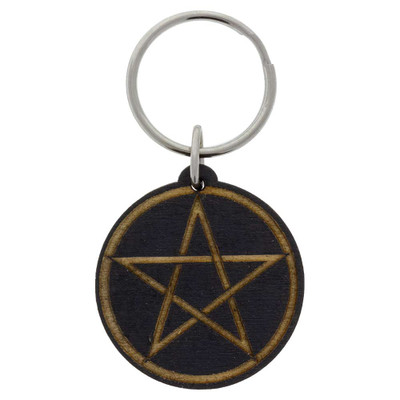 Wooden Pentacle Keychain decoration from above.