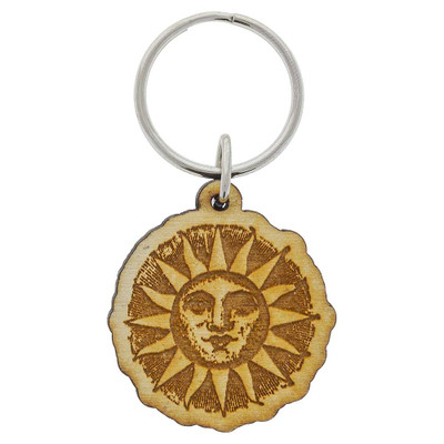 Wooden Sun Keychain decoration from above.