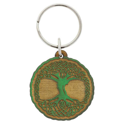 Tree of Life carved wood keychain decoration from above.