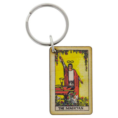 The Magician Tarot Card keychain from above.