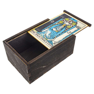 High Priestess Tarot wooden stash box with top tray slightly ajar.