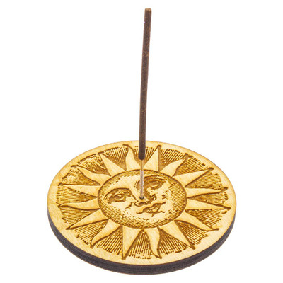 Etched Sun Incense Burner holding a Shortie stick incense.