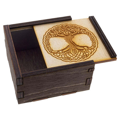 Tree of Life Stash Box with its lid ajar.