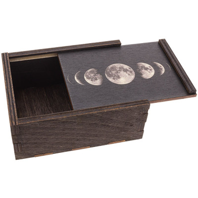 Moon Phases Small Wooden Stash Box with tray top slightly ajar.