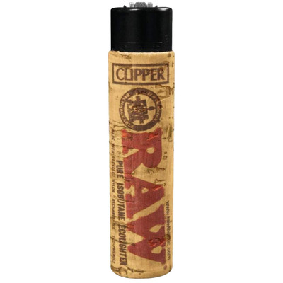 Front view of a RAW Clipper Lighter with Cork Sleeve.