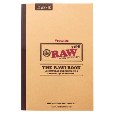 Raw rolling papers 10 page book of tips.