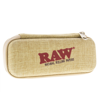Raw  hard shell cone wallet for  traveling with raw pre rolled cones, lighters and papers front view.