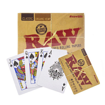 Raw rolling papers playing cards.