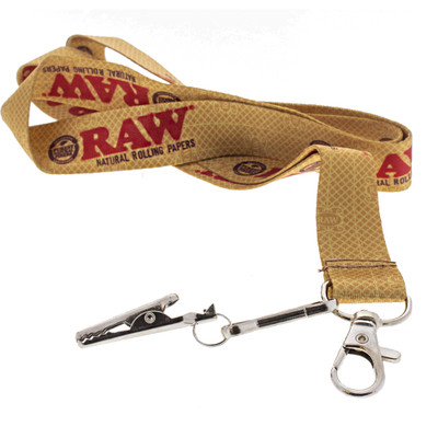 Up close look at the Raw smokers lanyard with key and joint clip.