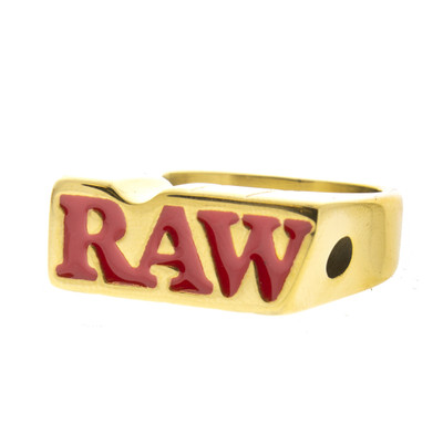 Raw logo on the gold Raw smoke ring.