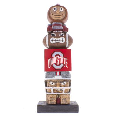 Ohio State Buckeyes college football tiki totem pole with Brutus on top.