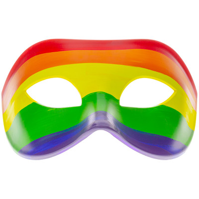 Front of the Rainbow Domino Mask showing off its colors.