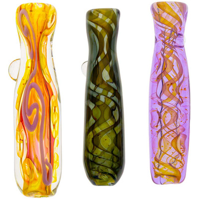 Top view of an assortment of colored glass chillums.