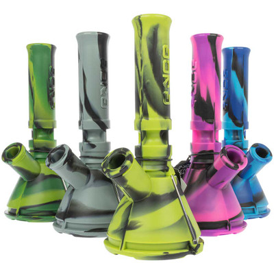A group shot of an assortment of colored Mini Silicone Beaker Bongs from Eyce Molds.